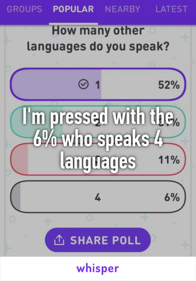 I'm pressed with the 6% who speaks 4 languages