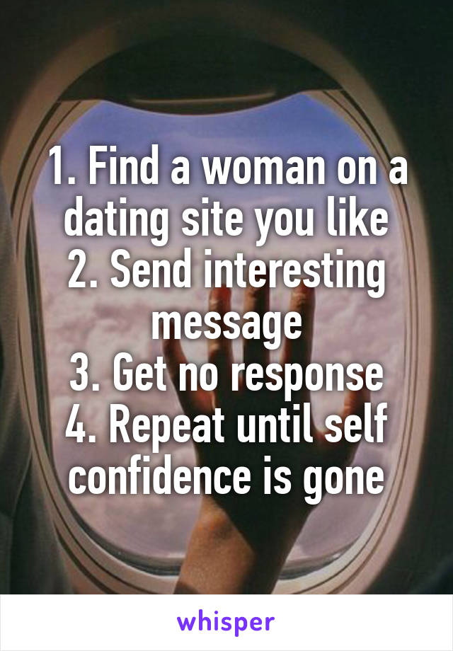 1. Find a woman on a dating site you like 2. Send interesting message 3. Get no response 4. Repeat until self confidence is gone