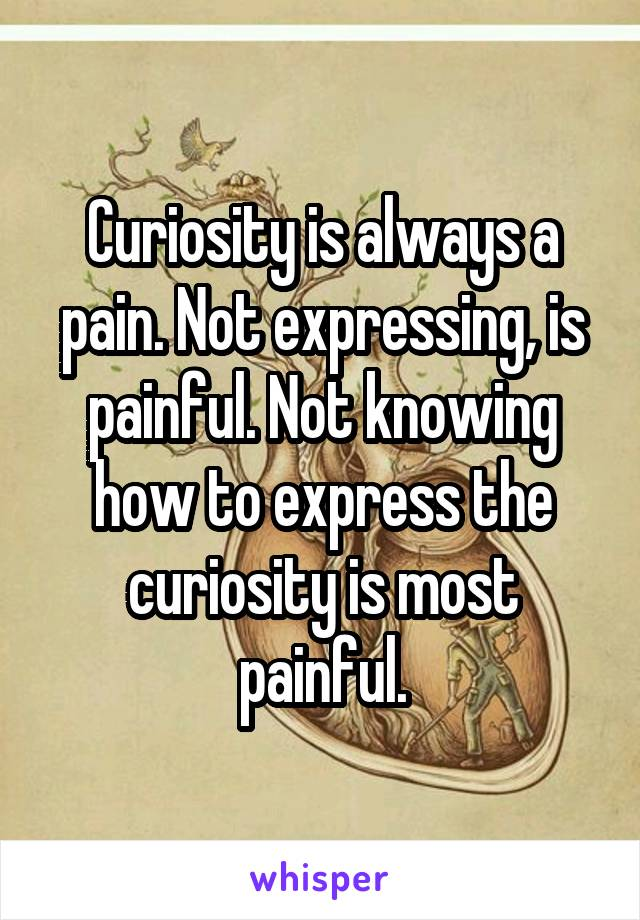 Curiosity is always a pain. Not expressing, is painful. Not knowing how to express the curiosity is most painful.