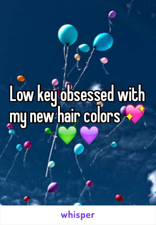 Low key obsessed with my new hair colors 💖💚💜