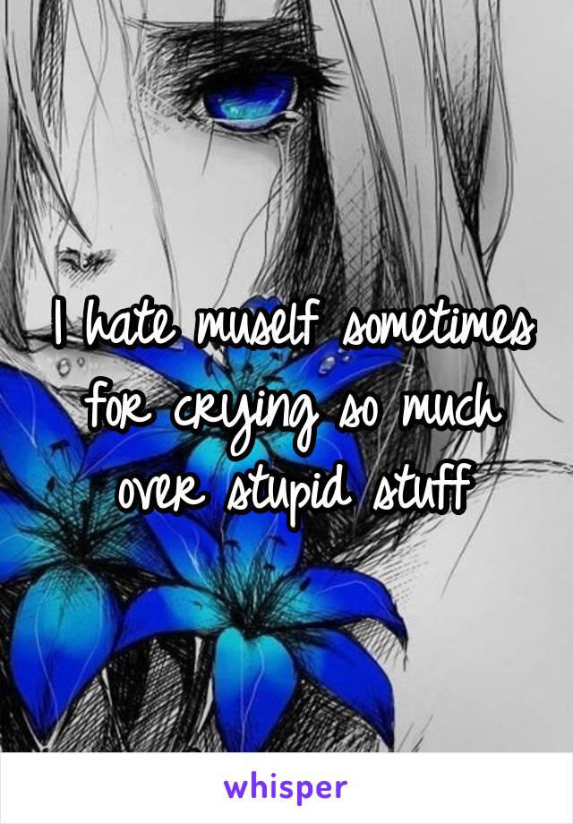 I hate muself sometimes for crying so much over stupid stuff
