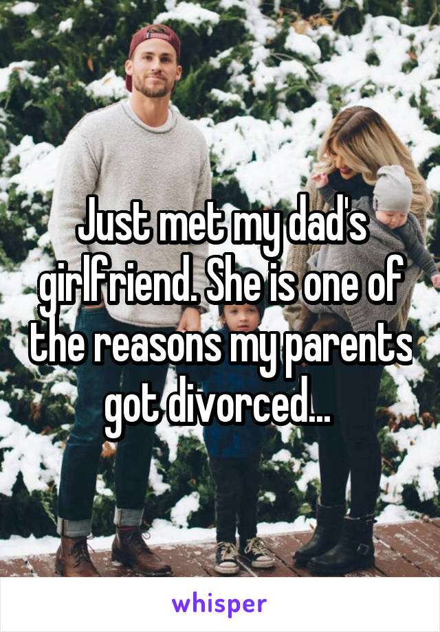 Just met my dad's girlfriend. She is one of the reasons my parents got divorced...