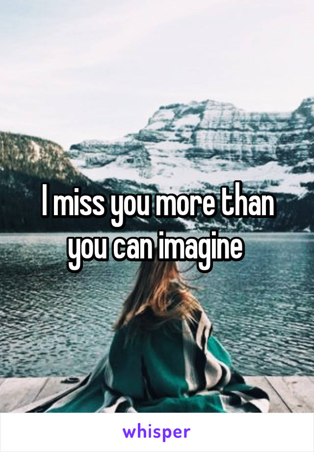 I miss you more than you can imagine