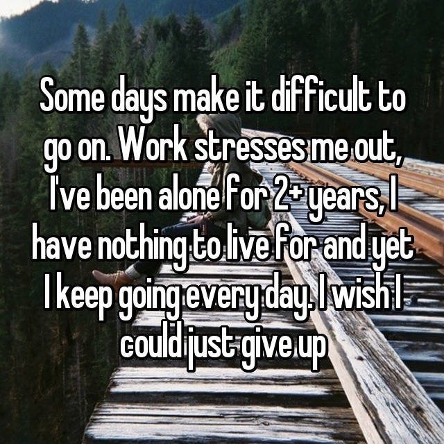 Some days make it difficult to go on. Work stresses me out, I've been alone for 2+ years, I have nothing to live for and yet I keep going every day. I wish I could just give up