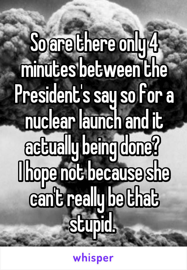 So are there only 4 minutes between the President's say so for a nuclear launch and it actually being done?  I hope not because she can't really be that stupid.