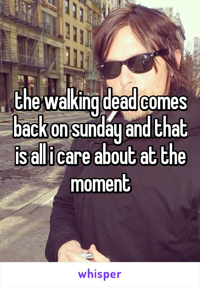 the walking dead comes back on sunday and that is all i care about at the moment