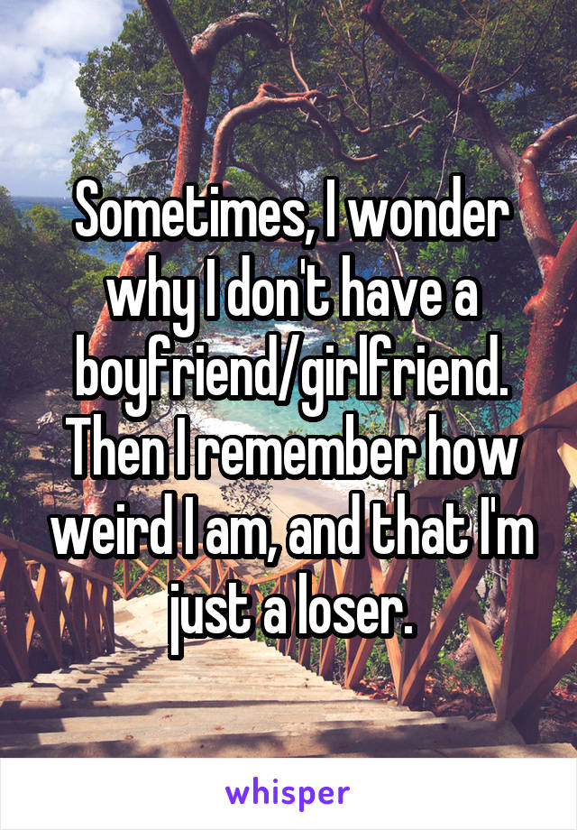 Sometimes, I wonder why I don't have a boyfriend/girlfriend. Then I remember how weird I am, and that I'm just a loser.