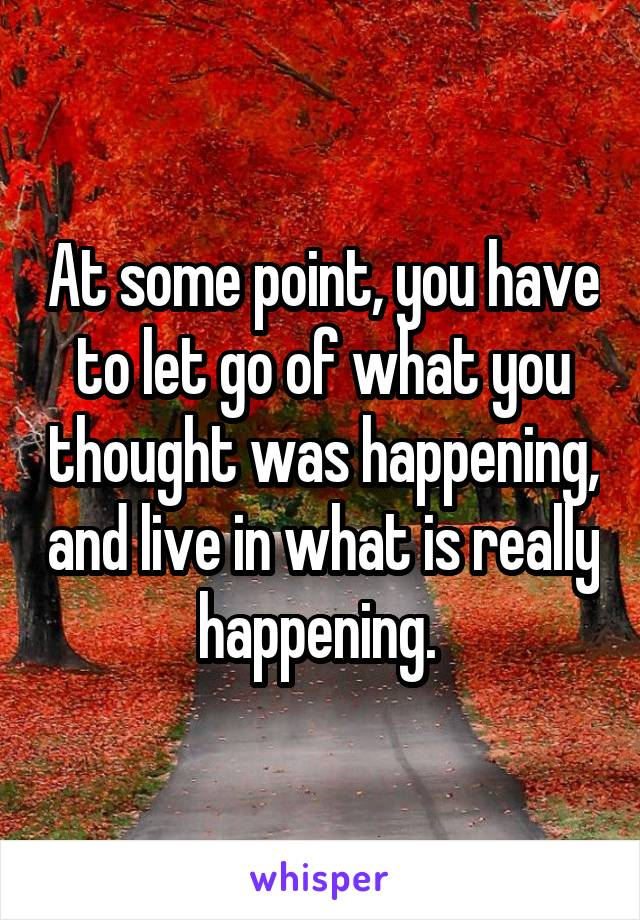 At some point, you have to let go of what you thought was happening, and live in what is really happening.