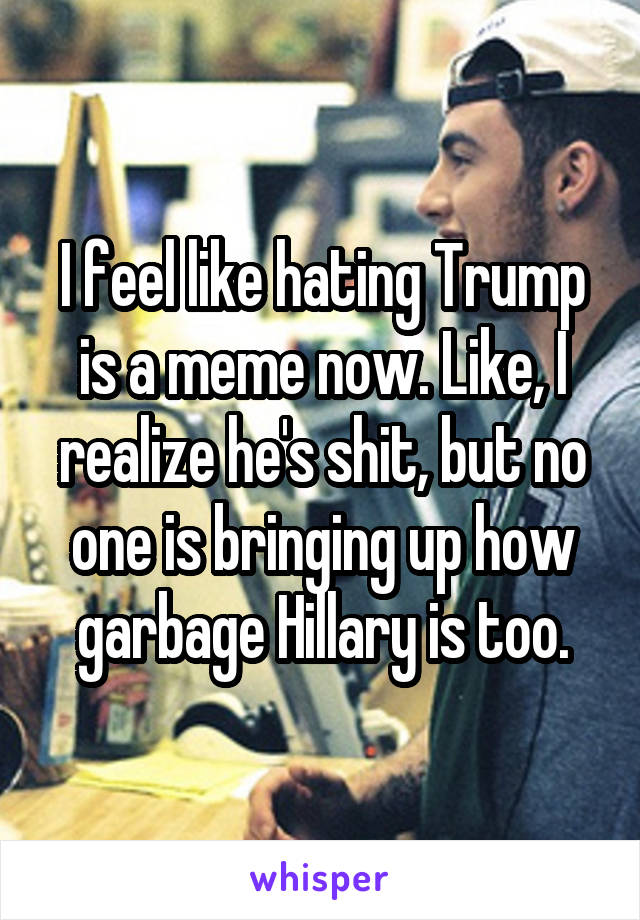 I feel like hating Trump is a meme now. Like, I realize he's shit, but no one is bringing up how garbage Hillary is too.