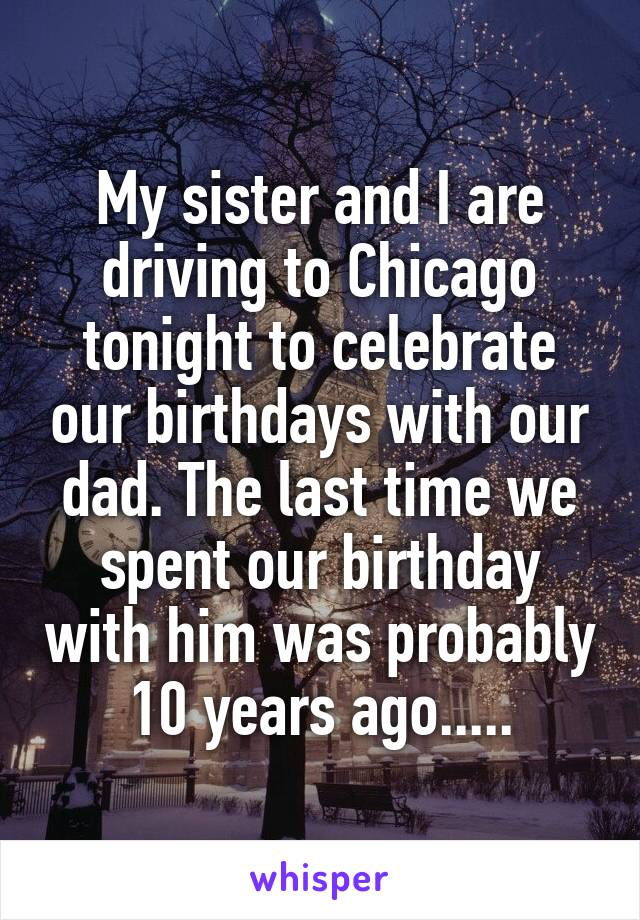 My sister and I are driving to Chicago tonight to celebrate our birthdays with our dad. The last time we spent our birthday with him was probably 10 years ago.....