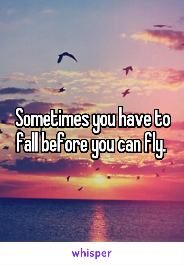 Sometimes you have to fall before you can fly.