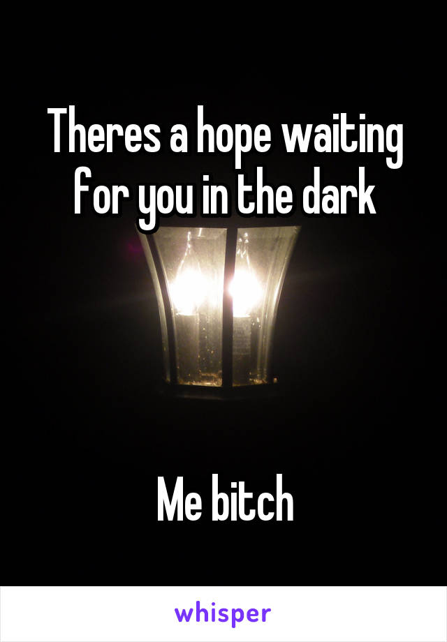Theres a hope waiting for you in the dark     Me bitch