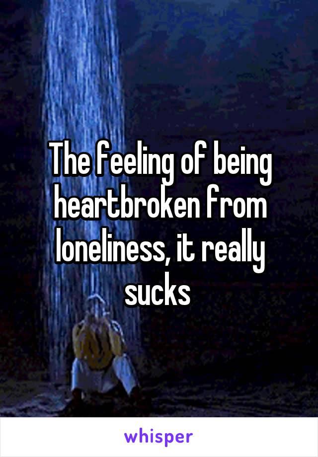 The feeling of being heartbroken from loneliness, it really sucks