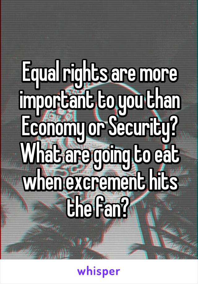 Equal rights are more important to you than Economy or Security? What are going to eat when excrement hits the fan?