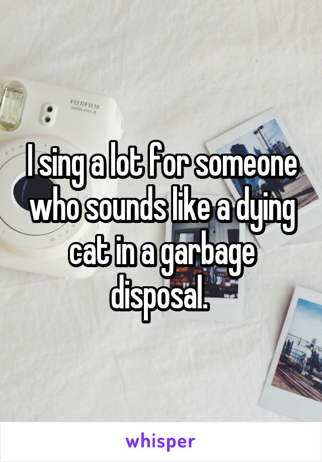 I sing a lot for someone who sounds like a dying cat in a garbage disposal.
