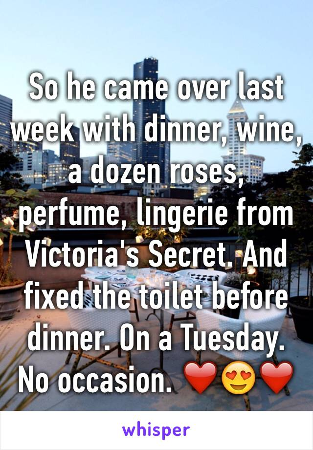 So he came over last week with dinner, wine, a dozen roses, perfume, lingerie from Victoria's Secret. And fixed the toilet before dinner. On a Tuesday. No occasion. ❤️😍❤️