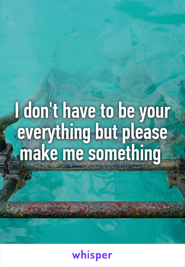 I don't have to be your everything but please make me something