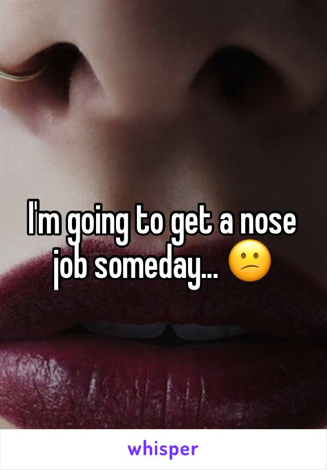 I'm going to get a nose job someday... 😕