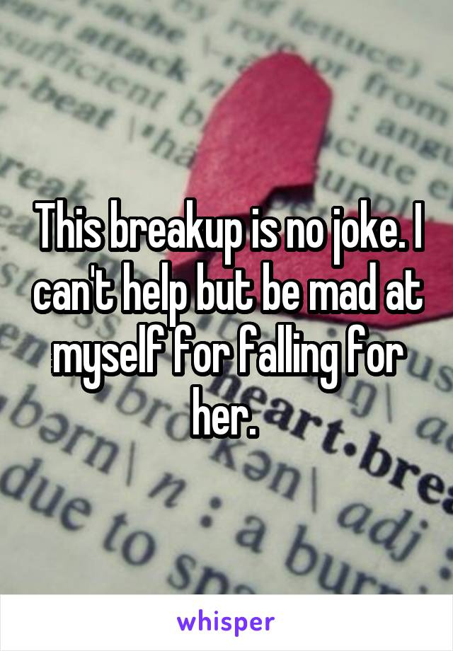 This breakup is no joke. I can't help but be mad at myself for falling for her.