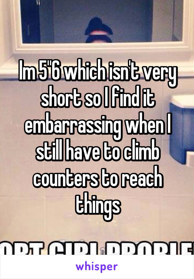 """Im 5""""6 which isn't very short so I find it embarrassing when I still have to climb counters to reach things"""