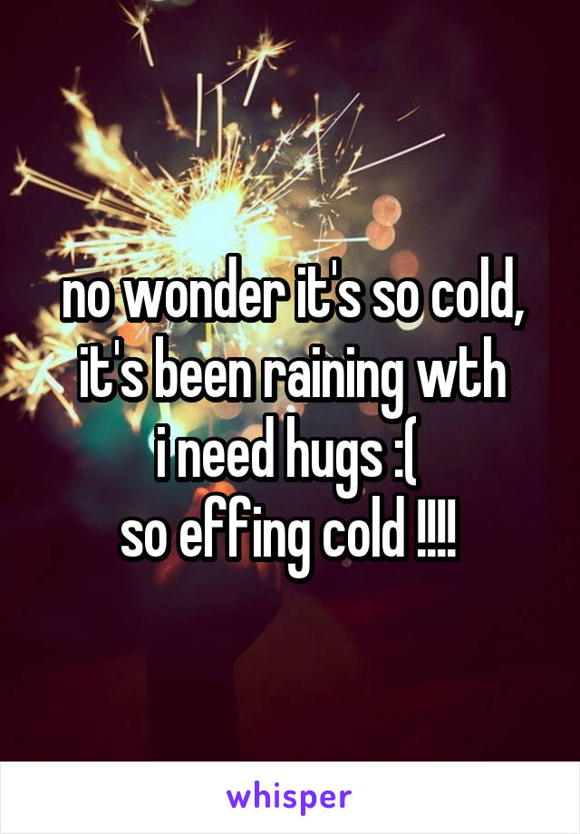 no wonder it's so cold, it's been raining wth i need hugs :(  so effing cold !!!!