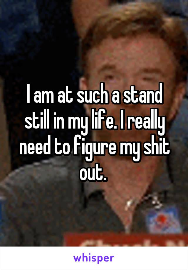 I am at such a stand still in my life. I really need to figure my shit out.