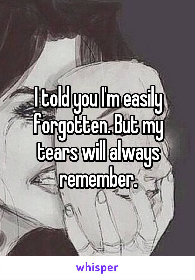 I told you I'm easily forgotten. But my tears will always remember.