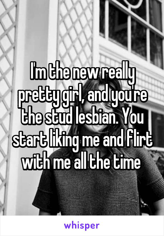 I'm the new really pretty girl, and you're the stud lesbian. You start liking me and flirt with me all the time