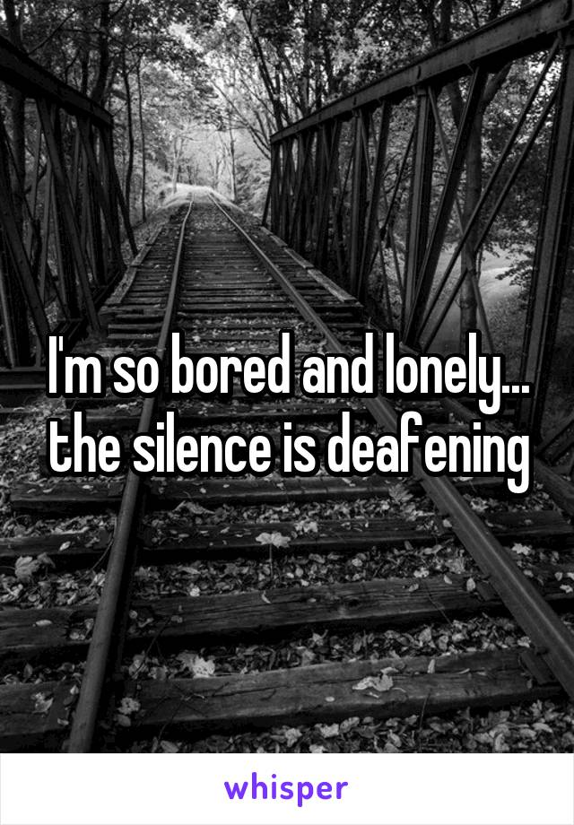 I'm so bored and lonely... the silence is deafening