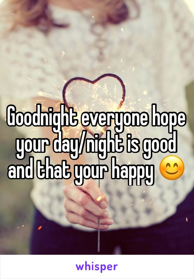 Goodnight everyone hope your day/night is good and that your happy 😊