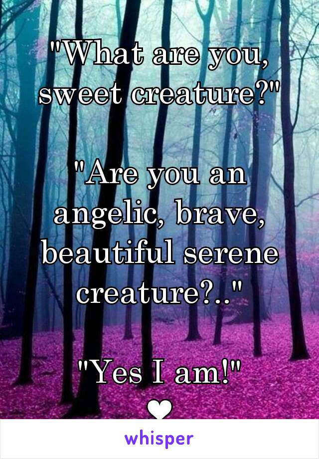 """""""What are you, sweet creature?""""  """"Are you an angelic, brave, beautiful serene creature?..""""  """"Yes I am!"""" ❤"""