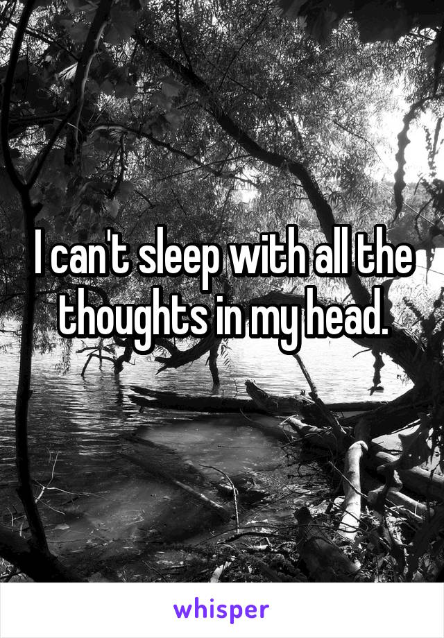 I can't sleep with all the thoughts in my head.