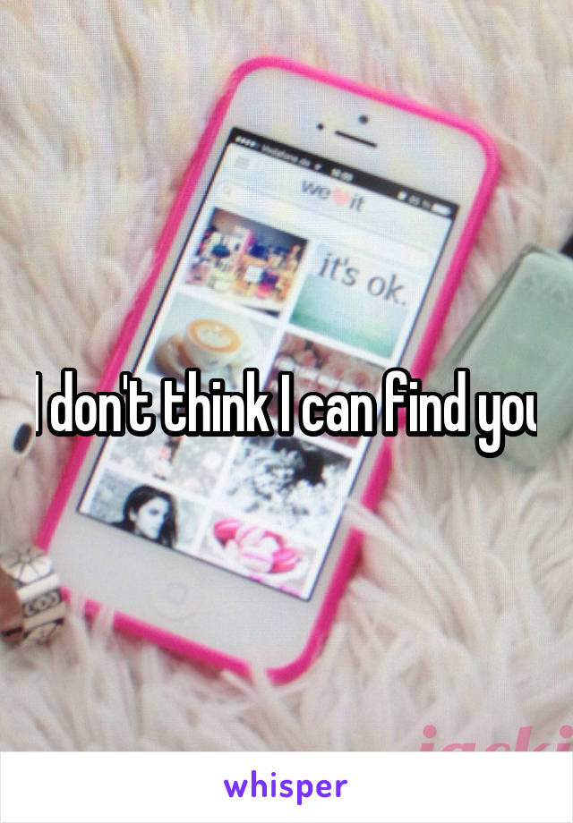 I don't think I can find you