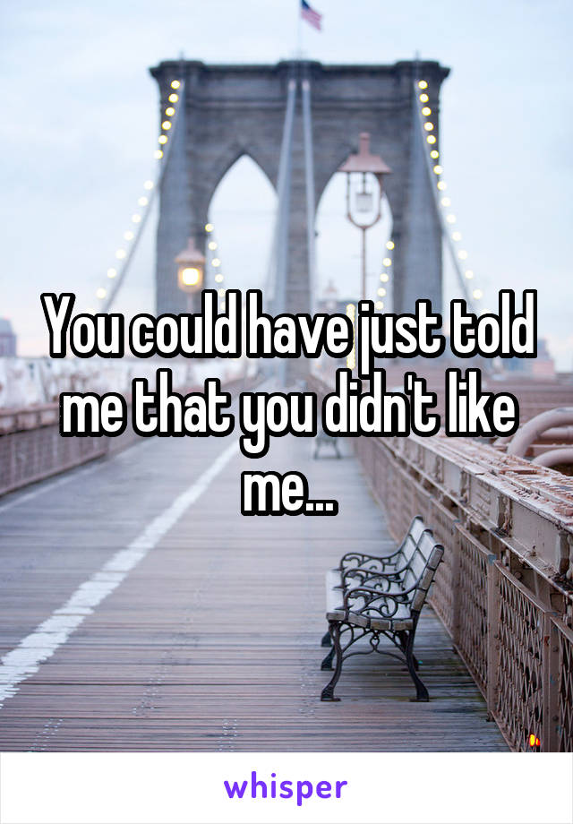You could have just told me that you didn't like me...