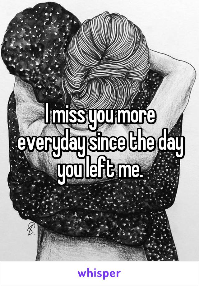 I miss you more everyday since the day you left me.