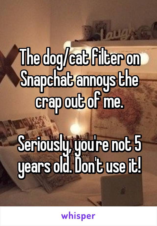 The dog/cat filter on Snapchat annoys the crap out of me.  Seriously, you're not 5 years old. Don't use it!