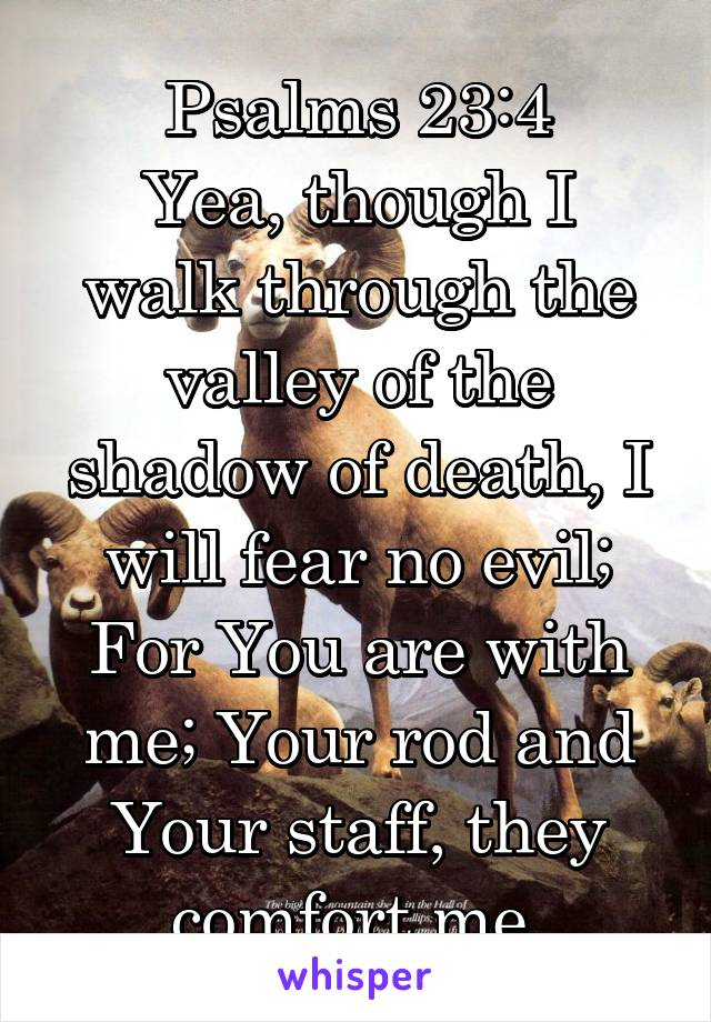 Psalms 23:4 Yea, though I walk through the valley of the shadow of death, I will fear no evil; For You are with me; Your rod and Your staff, they comfort me.