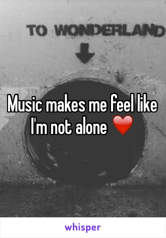 Music makes me feel like I'm not alone ❤️️
