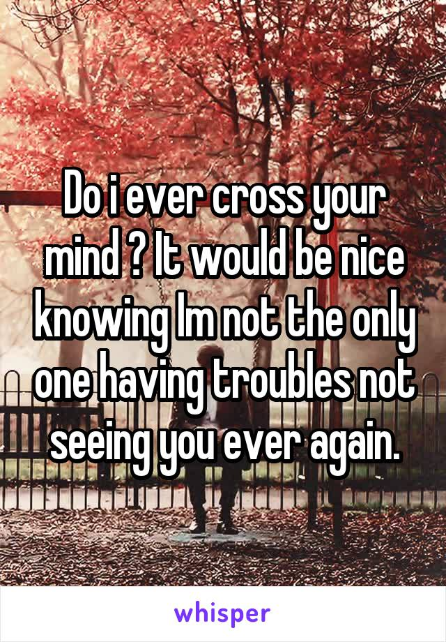 Do i ever cross your mind ? It would be nice knowing Im not the only one having troubles not seeing you ever again.