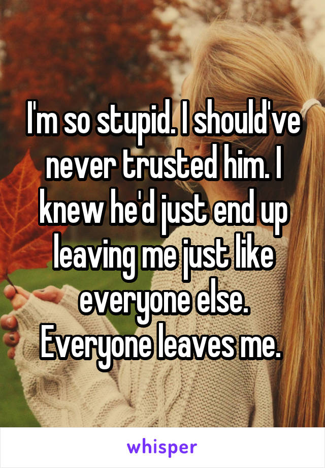 I'm so stupid. I should've never trusted him. I knew he'd just end up leaving me just like everyone else. Everyone leaves me.