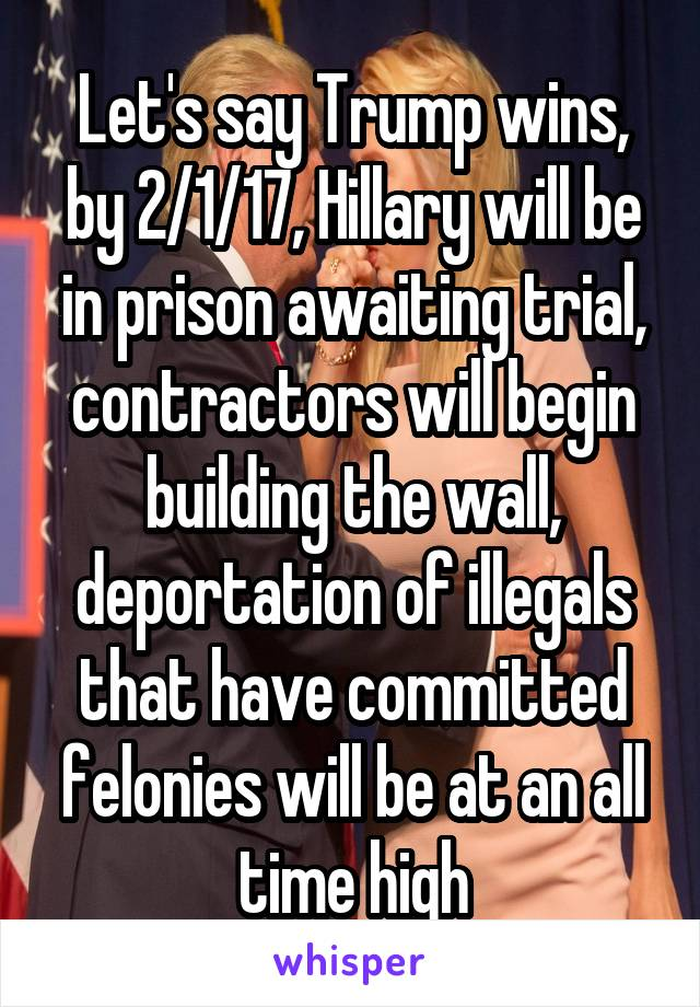 Let's say Trump wins, by 2/1/17, Hillary will be in prison awaiting trial, contractors will begin building the wall, deportation of illegals that have committed felonies will be at an all time high