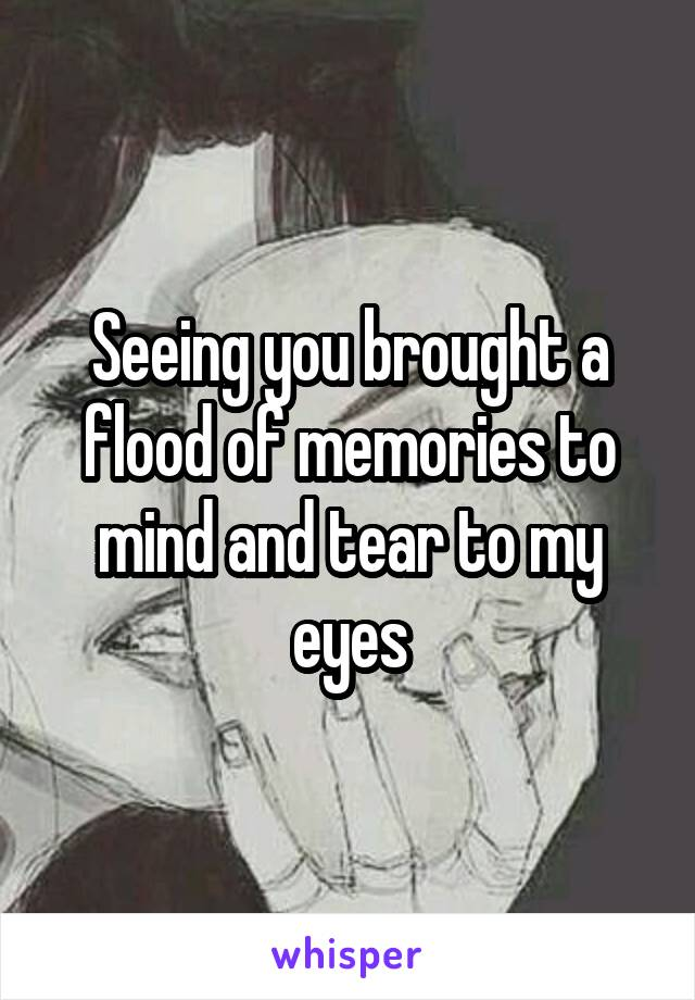 Seeing you brought a flood of memories to mind and tear to my eyes