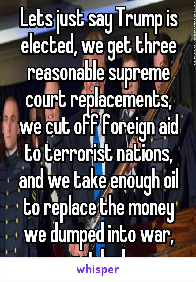 Lets just say Trump is elected, we get three reasonable supreme court replacements, we cut off foreign aid to terrorist nations, and we take enough oil to replace the money we dumped into war, not bad