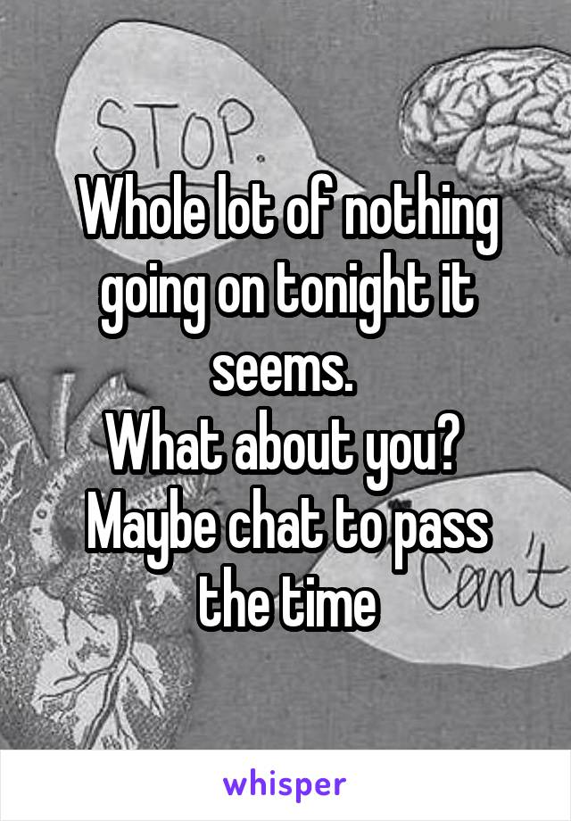 Whole lot of nothing going on tonight it seems.  What about you?  Maybe chat to pass the time