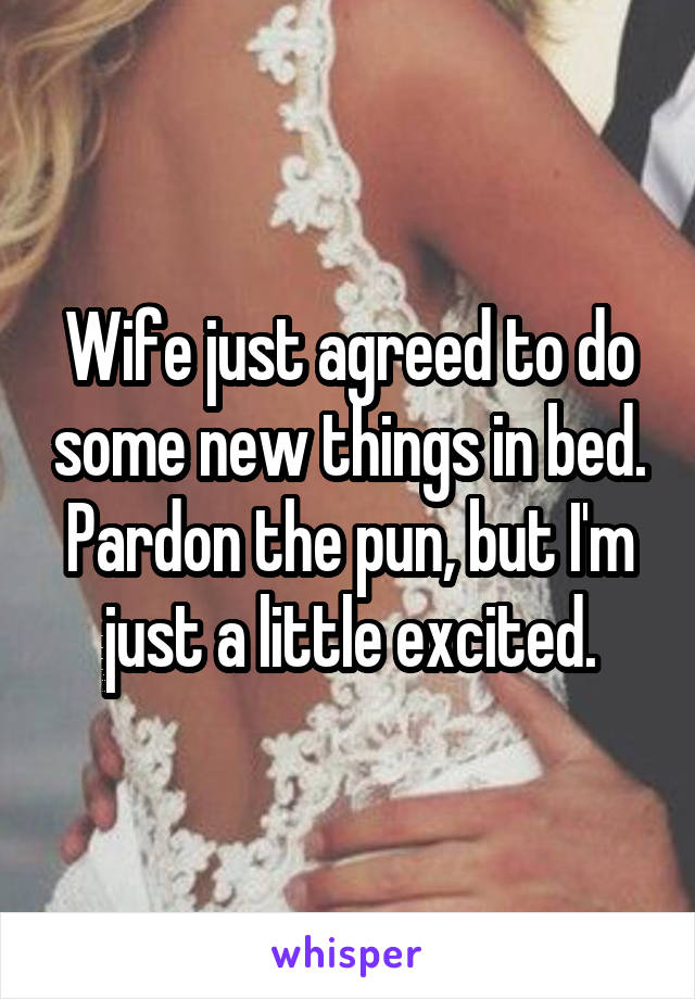 Wife just agreed to do some new things in bed. Pardon the pun, but I'm just a little excited.