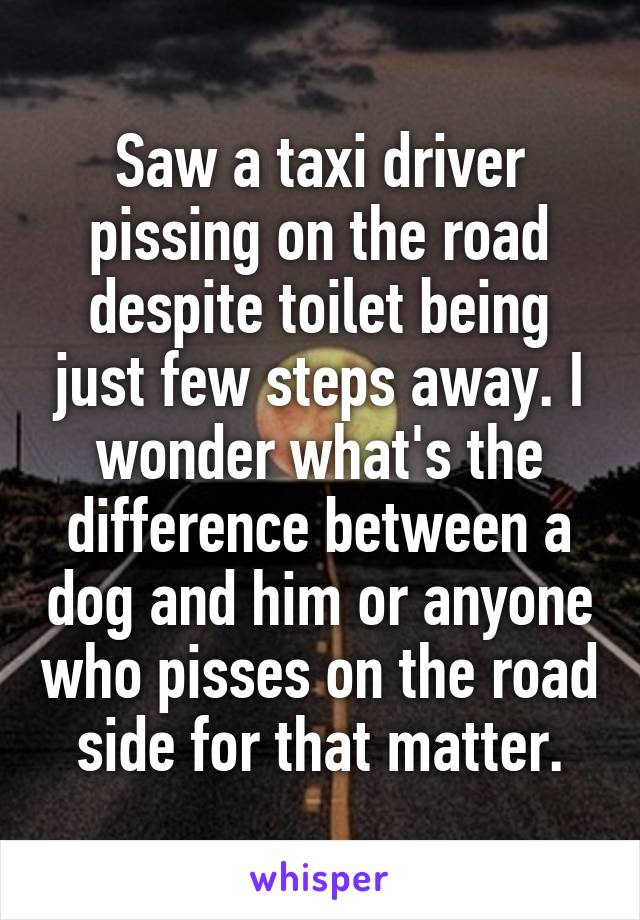 Saw a taxi driver pissing on the road despite toilet being just few steps away. I wonder what's the difference between a dog and him or anyone who pisses on the road side for that matter.