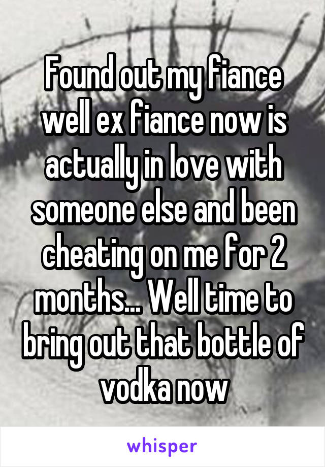 Found out my fiance well ex fiance now is actually in love with someone else and been cheating on me for 2 months... Well time to bring out that bottle of vodka now