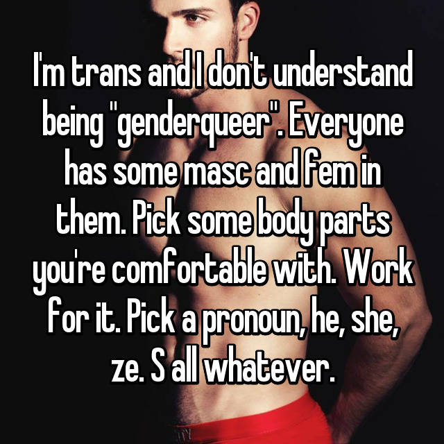 """I'm trans and I don't understand being """"genderqueer"""". Everyone has some masc and fem in them. Pick some body parts you're comfortable with. Work for it. Pick a pronoun, he, she, ze. S all whatever."""