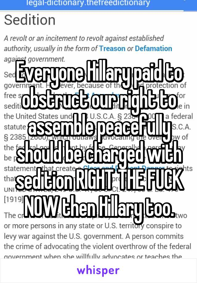 Everyone Hillary paid to obstruct our right to assemble peacefully should be charged with sedition RIGHT THE FUCK NOW then Hillary too.