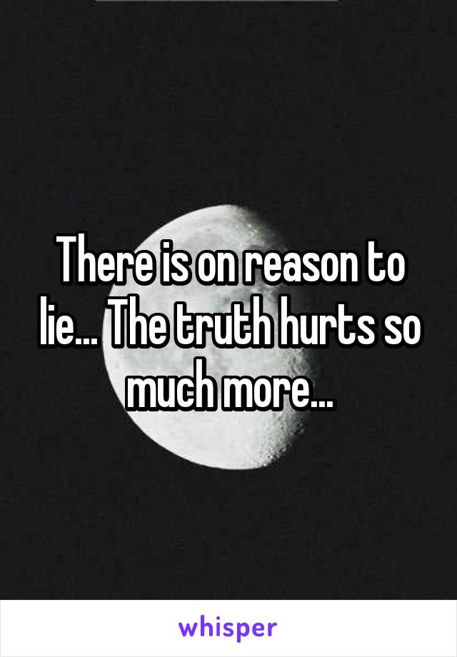 There is on reason to lie... The truth hurts so much more...